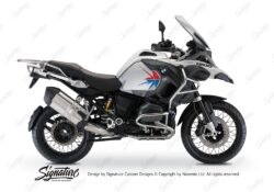 BKIT 3790 BMW R1200GS Adventure Alpine White Spike V2 Red Blue Stickers Kit 01