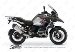 BKIT 3792 BMW R1200GS Adventure Olive Green Spike V2 Red Black Stickers Kit 01
