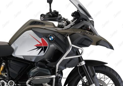 BKIT 3792 BMW R1200GS Adventure Olive Green Spike V2 Red Black Stickers Kit 02