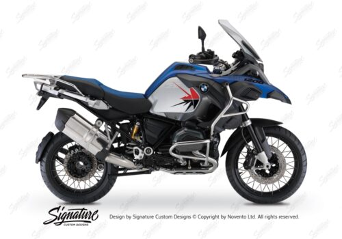 BKIT 3797 BMW R1200GS LC Adventure Racing Blue Spike V2 Red Black Stickers Kit 01