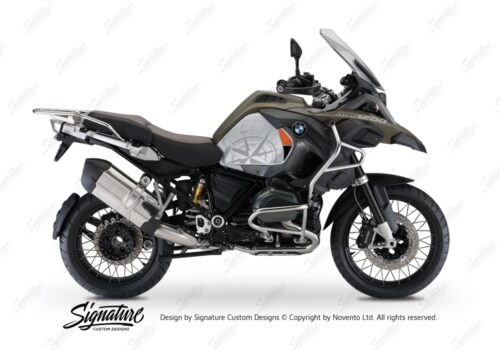 BKIT 3820 BMW R1200GS LC Adventure Olive Green Compass with Side Tank Orange Stickers Kit Black 01