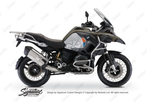 BKIT 3820 BMW R1200GS LC Adventure Olive Green Compass with Side Tank Orange Stickers Kit Blue 01