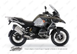 BKIT 3820 BMW R1200GS LC Adventure Olive Green Compass with Side Tank Orange Stickers Kit Silver 01