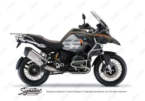 BKIT 3859 BMW R1200GS LC Olive Matte GS Lines Style HP Orange Black 01