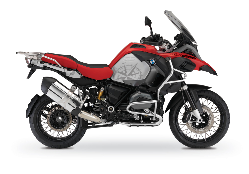 BKIT 3787 BMW R1200GS LC Adventure Racing Red Compass Grey Side Tank Stickers Kit 01