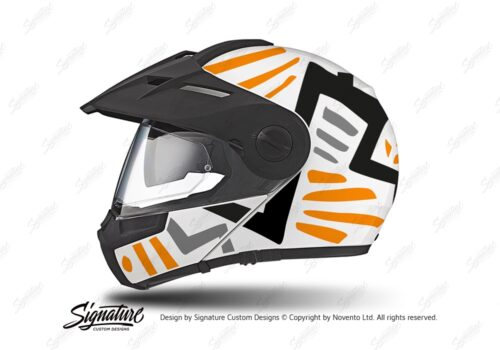 HEL 3941 Schuberth E1 Helmet White Massai Orange Black Grey