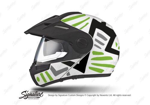 HEL 3942 Schuberth E1 Helmet White Massai Toxic Green Black Grey