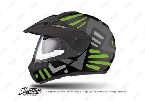 HEL 3948 Schuberth E1 Helmet Black Massai Toxic Green Grey Silver