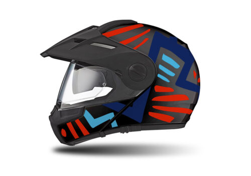 HEL 3949 Schuberth E1 Helmet Black Massai Red Blue Light Blue