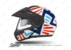 HEL 3950 Schuberth E1 Helmet White Massai Red Blue Light Blue