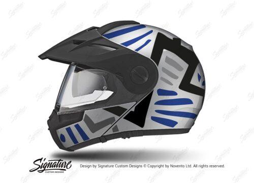 HEL 3953 Schuberth E1 Helmet Silver Massai Blue Grey Black