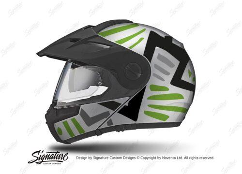 HEL 3956 Schuberth E1 Helmet Silver Massai Toxic Green Grey Black