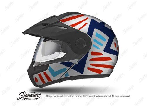 HEL 3957 Schuberth E1 Helmet Silver Massai Red Blue Light Blue