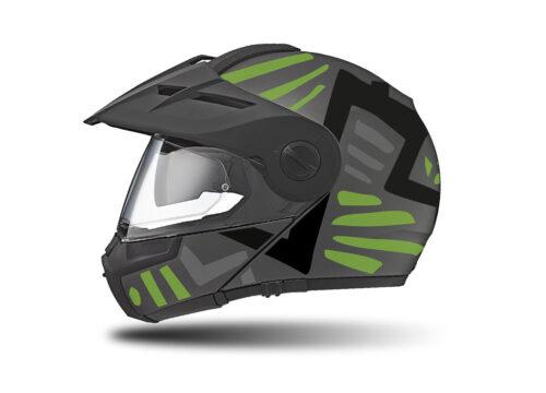 HEL 3963 Schuberth E1 Helmet Anthracite Massai Toxic Green Silver Black
