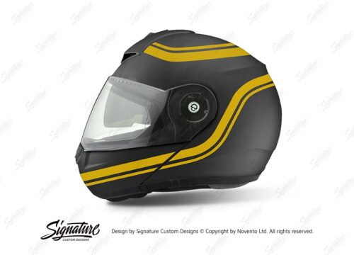 HEL 3997 Shuberth C3 Pro Anthracite Retroline V6 Yellow Gloss Stickers