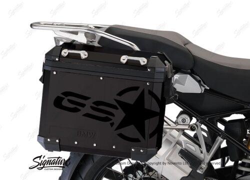 BSTI 4052 BMW ALUMINUM SIDE PANNIERS BLACK GS STAR STICKERS black gloss 02