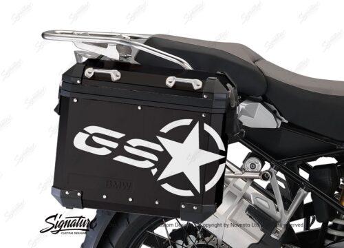 BSTI 4052 BMW ALUMINUM SIDE PANNIERS BLACK GS STAR STICKERS white 02