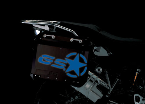 BSTI 4053 BMW ALUMINUM SIDE PANNIERS BLACK GS STAR REFLECTIVE STICKERS blue night