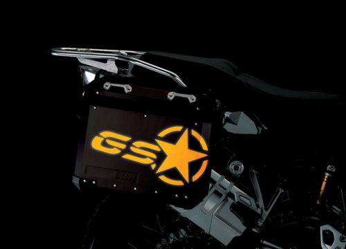 BSTI 4053 BMW ALUMINUM SIDE PANNIERS BLACK GS STAR REFLECTIVE STICKERS yellow night