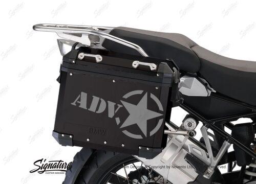 BSTI 4054 BMW ALUMINUM SIDE PANNIERS BLACK ADV STAR STICKERS silver 02