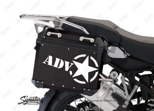 BSTI 4054 BMW ALUMINUM SIDE PANNIERS BLACK ADV STAR STICKERS white 02