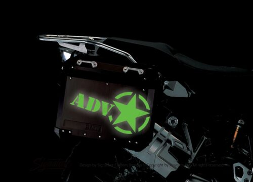 BSTI 4055 BMW ALUMINUM SIDE PANNIERS BLACK ADV STAR REFLECTIVES green night