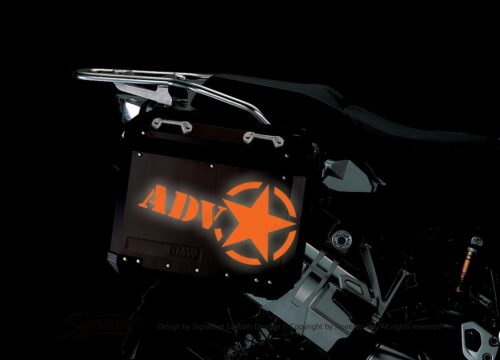 BSTI 4055 BMW ALUMINUM SIDE PANNIERS BLACK ADV STAR REFLECTIVES orange night