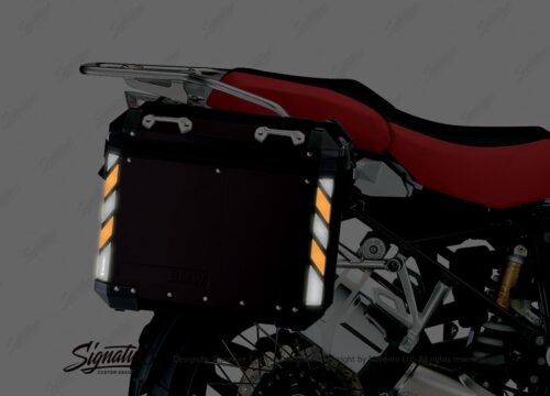 BSTI 4070 BMW Side Panniers Black Black Orange Reflective Strips NIGHT 02