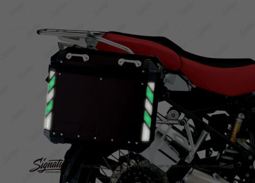 BSTI 4071 BMW Side Panniers Black Black Green Reflective Strips NIGHT 02