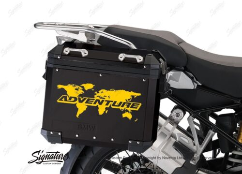 BSTI 4091 BMW Aluminum Panniers Black The Globe Stickers Yellow 02
