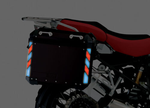 BSTI 4130 BMW Side Panniers Black Red Blue Reflective Strips NIGHT 02