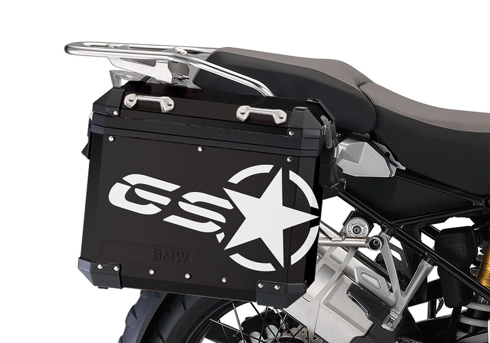 BSTI 4052 BMW ALUMINUM SIDE PANNIERS BLACK GS STAR STICKERS white 02