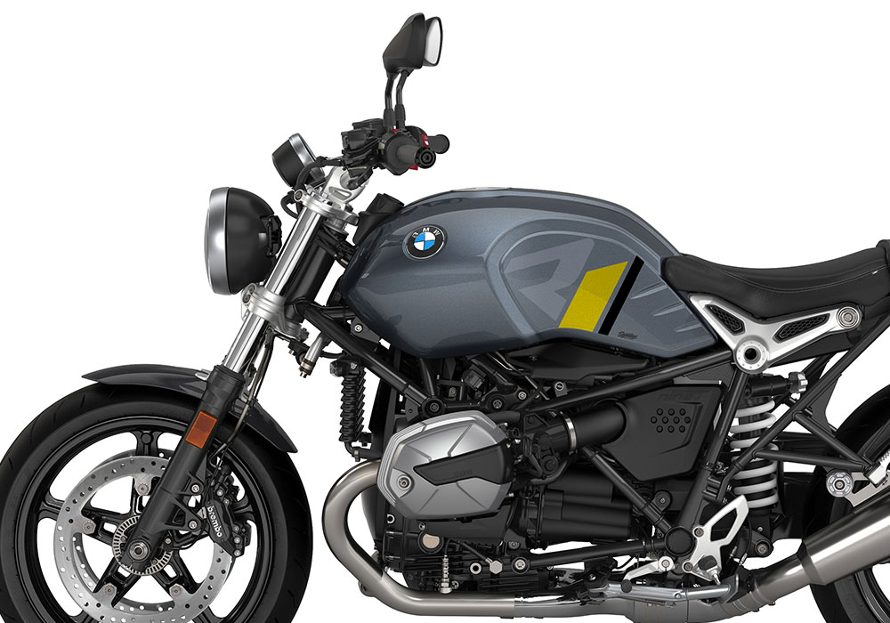 SIG 1127 02 BMW RnineT Pure R LINE Grey Yellow Black Stickers Mineral Grey Left 02