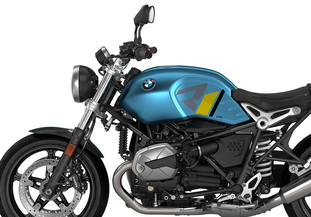 SIG 1127 02 BMW RnineT Pure R LINE Grey Yellow Black Stickers Teal Blue Metallic Matte Left 02