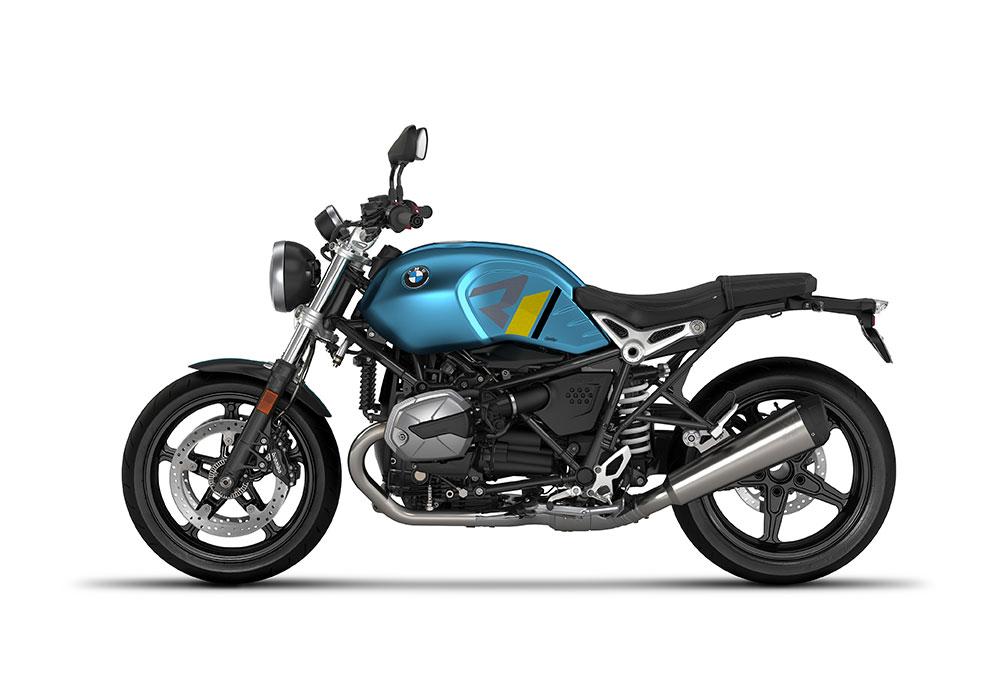 SIG 1127 02 BMW RnineT Pure R LINE Grey Yellow Black Stickers Teal Blue Metallic Matte Left