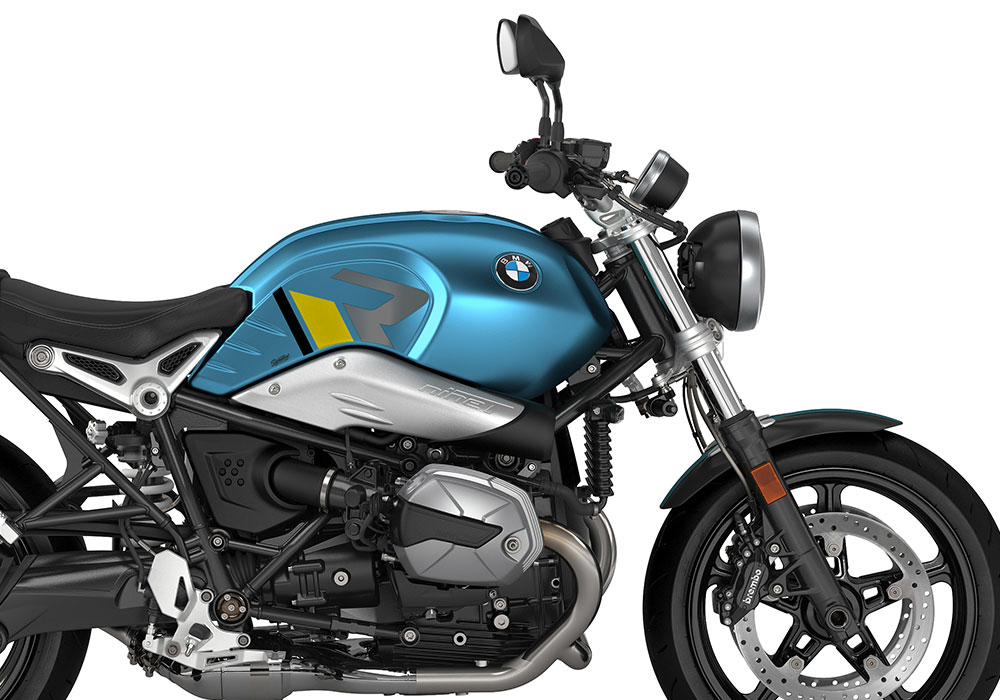 SIG 1127 02 BMW RnineT Pure R LINE Grey Yellow Black Stickers Teal Blue Metallic Matte Right 02