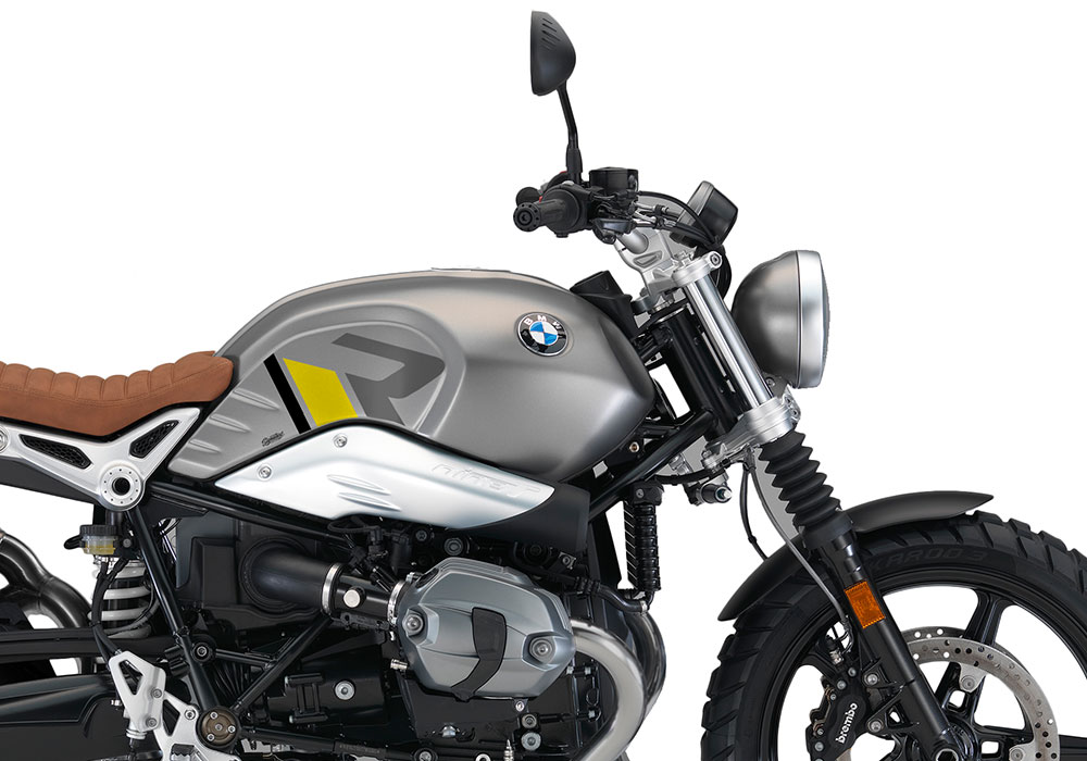 SIG 1127 03 BMW RnineT Scrambler R LINE Grey Yellow Black Grey Stickers Monolith Metallic right rear 02