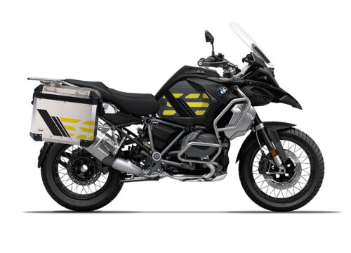 SIG 1166 BMW ALU Panniers GS Line Yellow Stickers Pannier Silver